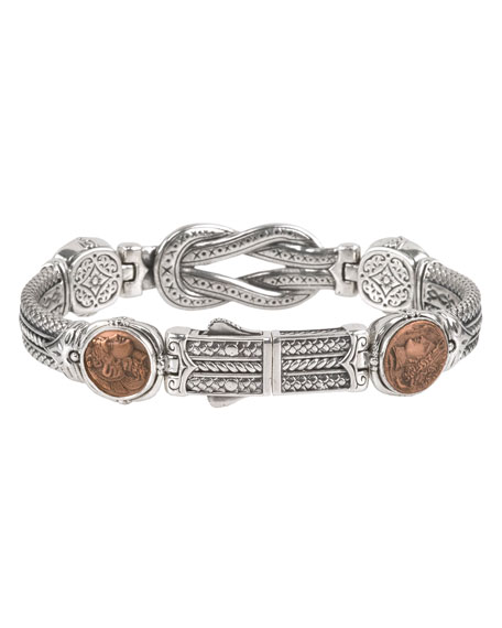 Men's Sterling Silver & Copper Coin Bracelet