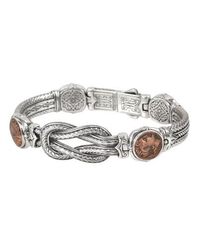Men's Sterling Silver & Copper Coin Bracelet