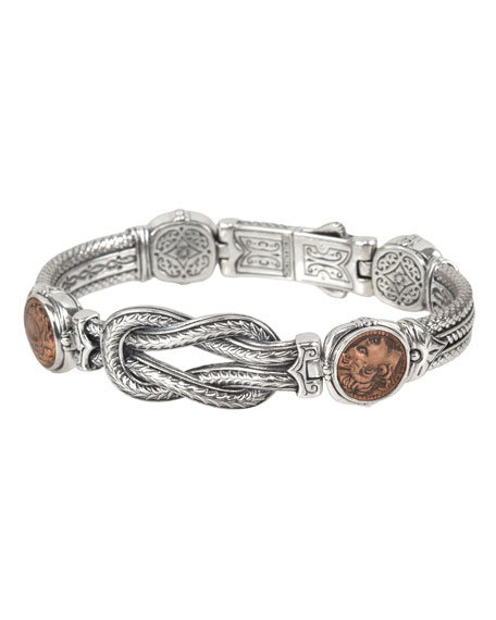 Konstantino Men's Sterling Silver & Copper Coin Bracelet