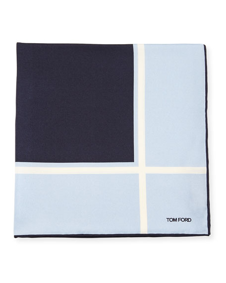 Box Silk Pocket Square, Light Blue