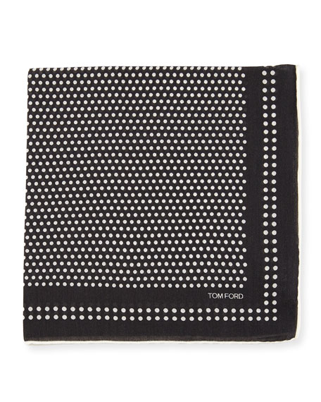 Dot Woven Pocket Square, Navy