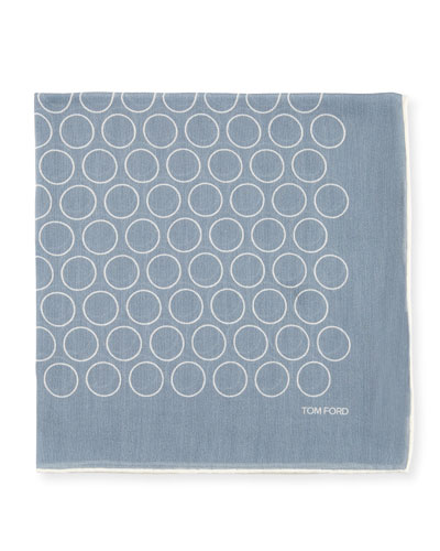 Open Circle Pocket Square, Light Blue