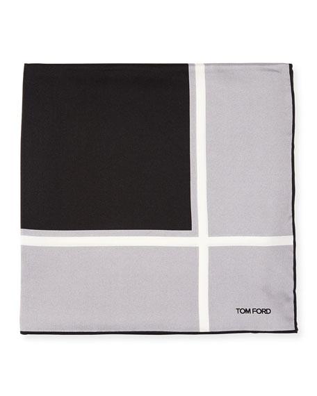 Box Silk Pocket Square, Gray