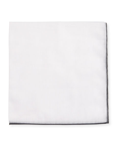 Solid Cotton Pocket Square with Contrast Border, White/Black
