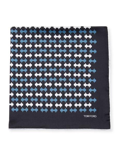 Track-Pattern Silk Pocket Square, Blue