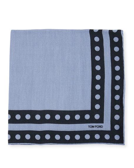 Dot Border Pocket Square, Blue