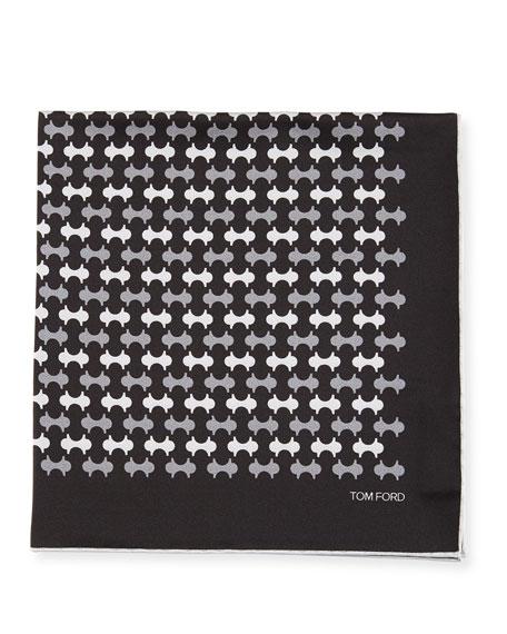 Track-Pattern Silk Pocket Square, Gray