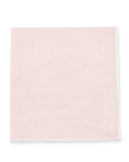 Solid Pocket Square with Contrast Border, Pink/White