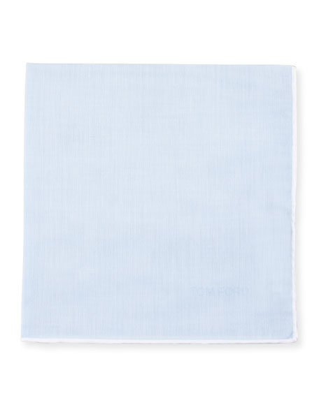 Solid Pocket Square w/Contrast Border, Light Blue