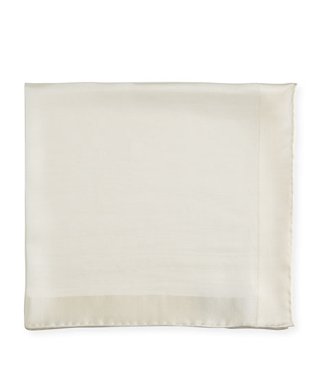 Silk Twill Classic Pocket Square, White