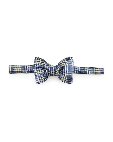 Textured Prince of Wales Plaid Bow Tie, Blue