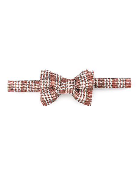 Textured Plaid Bow Tie, Orange