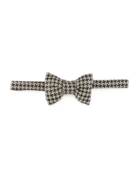 Houndstooth Silk Bow Tie, Black