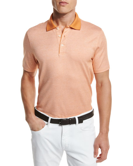 Ermenegildo Zegna Melange Polo Shirt, Orange
