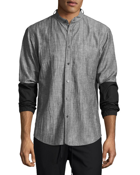 Public School Zuka Wrinkled Combo Shirt, Black/White