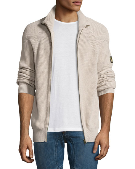 Belstaff Parkgate Core Full-Zip Sweater, Light Gray