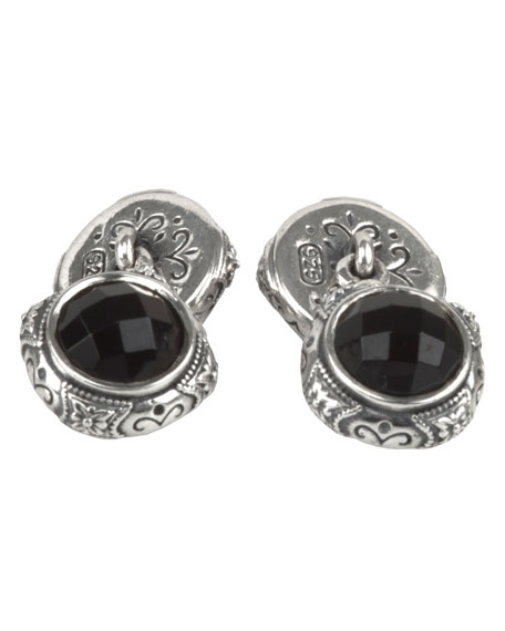 Aeolus Sterling Silver & Onyx Cuff Links