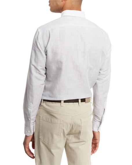 Melange Linen-Cotton Sport Shirt, Light Gray