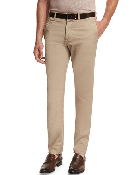 Ermenegildo Zegna Slim-Fit Flat-Front Trousers
