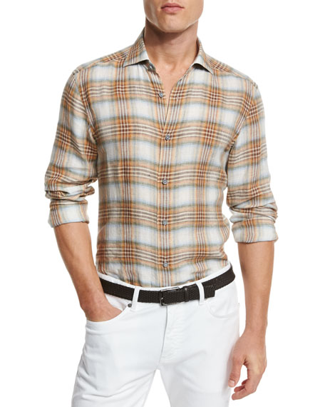 Ermenegildo Zegna Plaid Linen Sport Shirt, Orange/Medium Brown