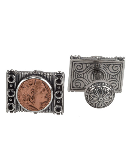 Men's Sterling Silver & Copper Herakles Cuff Links w/Spinel Insets