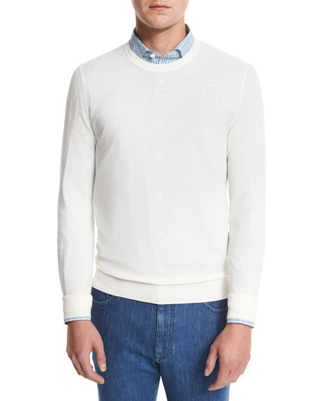 Ermenegildo Zegna Textured Crewneck Sweater, Natural