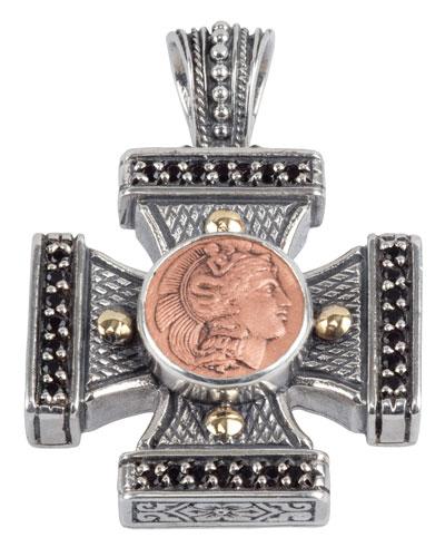 Men's Aeolus Athena Cross Pendant w/Spinel