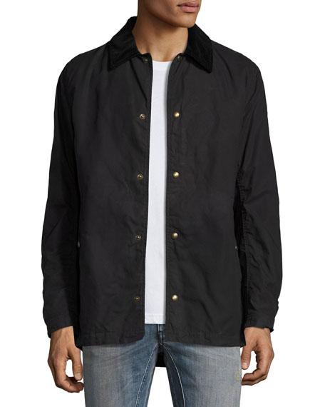 Belstaff Lydden Waxed Cotton Shirt Jacket, Black | Neiman Marcus