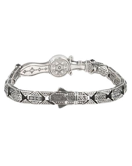 Men's Sterling Silver & Copper Bracelet w/Spinel