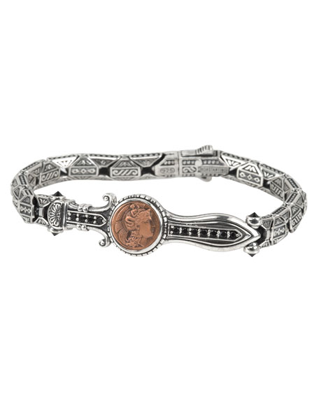 Men's Sterling Silver & Copper Bracelet w/Spinel