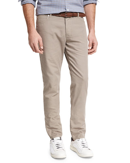 Canvas Five-Pocket Pants, Brown