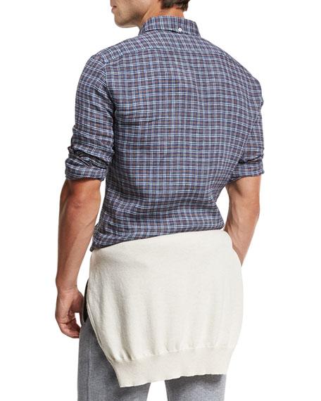 Plaid Leisure-Fit Sport Shirt, Indigo
