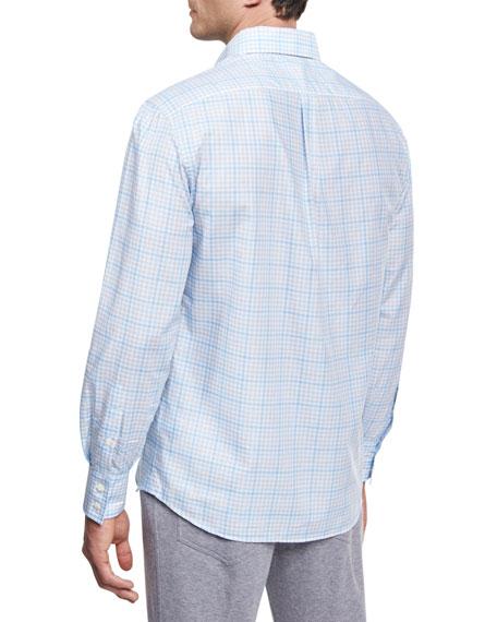 Plaid Cotton Button-Front Shirt, Light Blue
