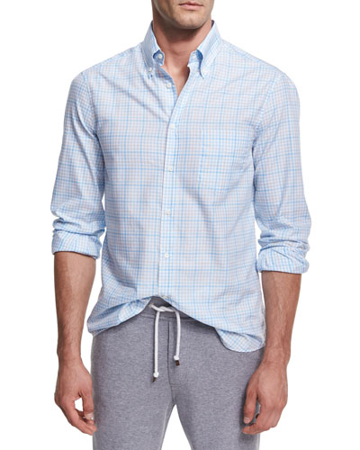 Plaid Cotton Button-Front Shirt, Light Blue
