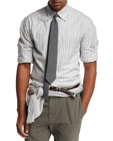 Brunello Cucinelli Striped Woven Oxford Shirt, Gray