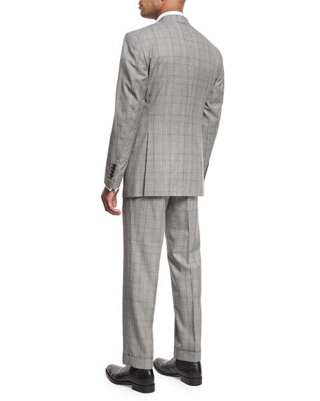 Windsor Base Plaid Two-Piece Suit, Black/White