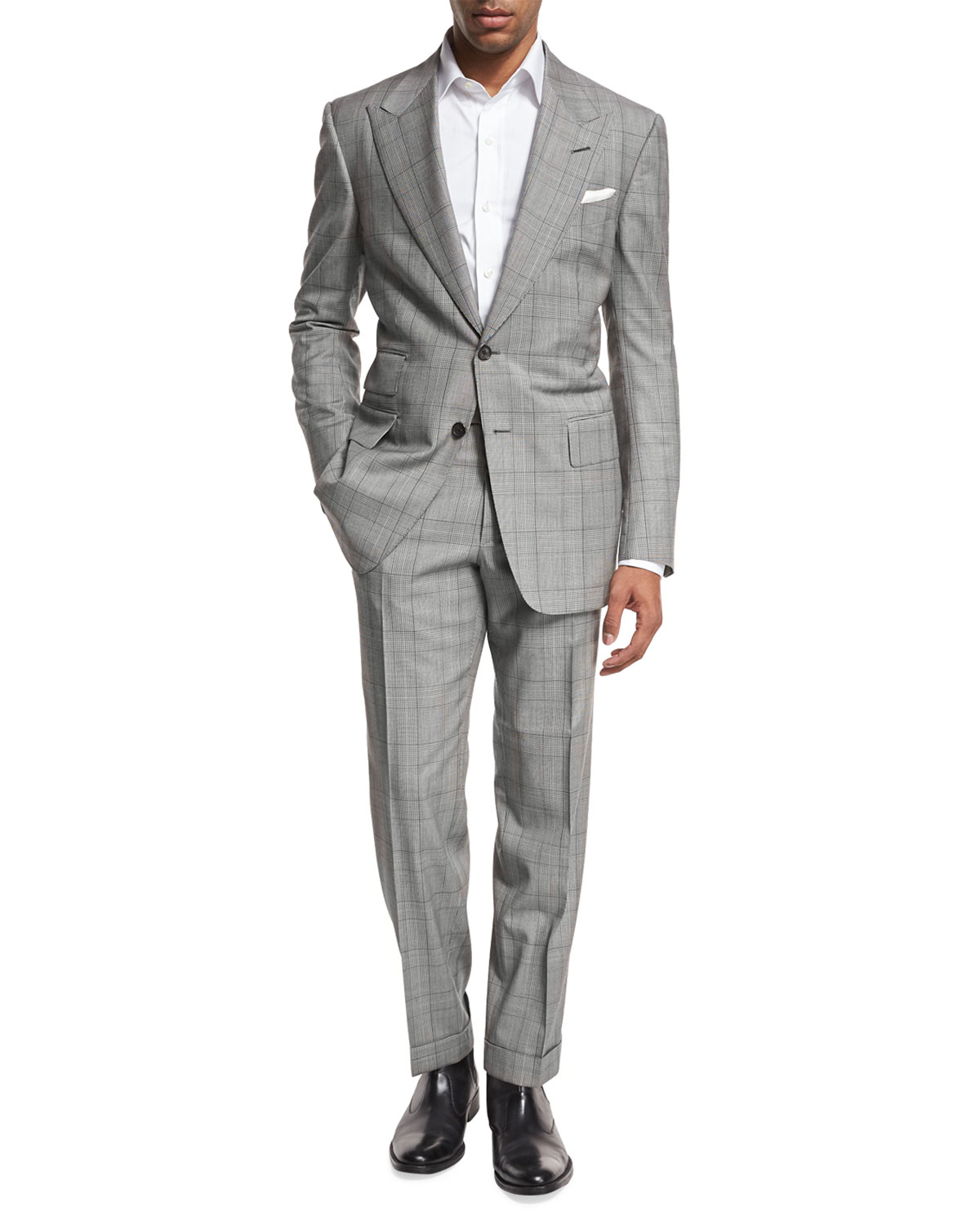 Tom Ford Windsor Base Plaid Two Piece Suit Black White