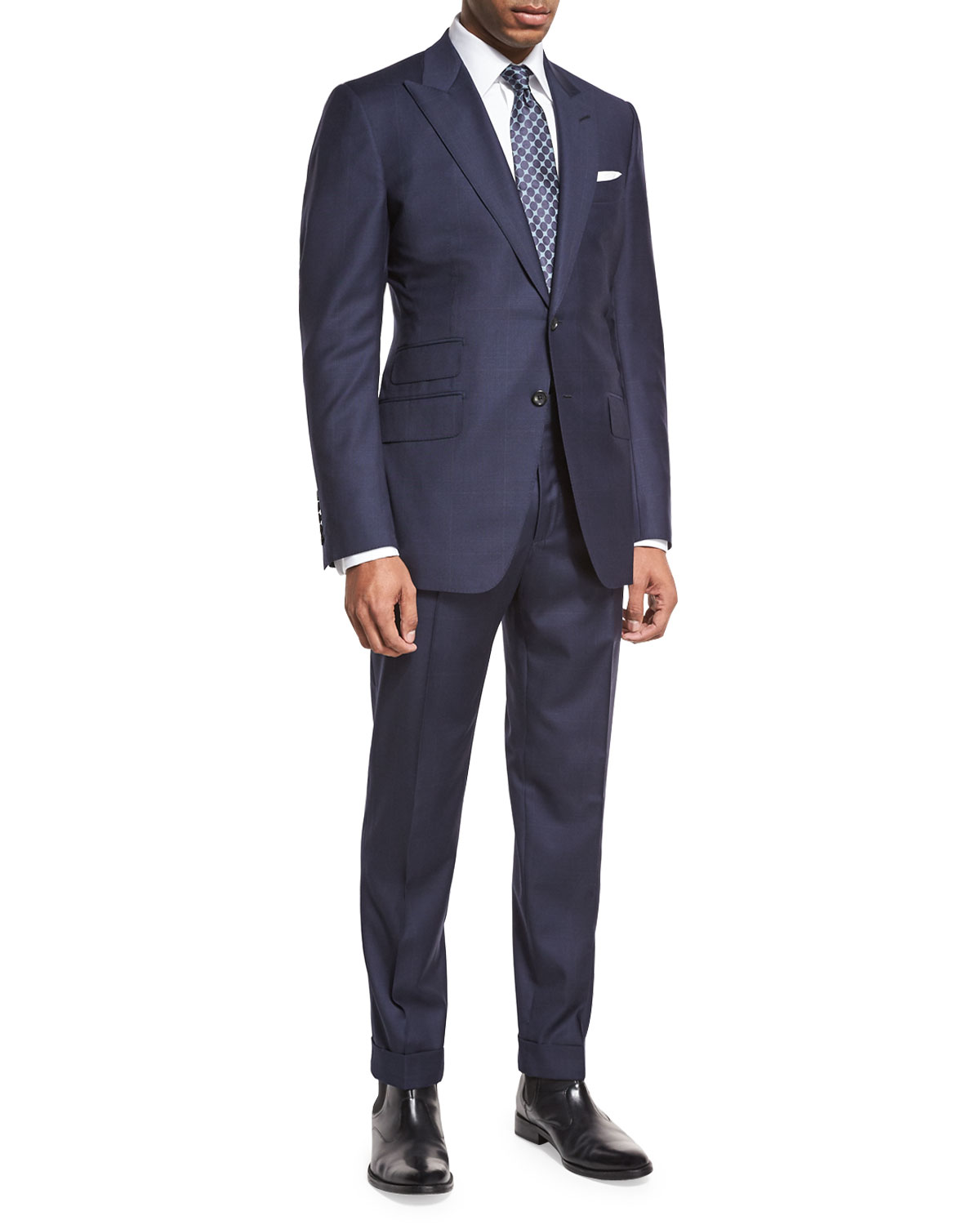 tom ford o 39 connor base windowpane two piece suit navy. Black Bedroom Furniture Sets. Home Design Ideas