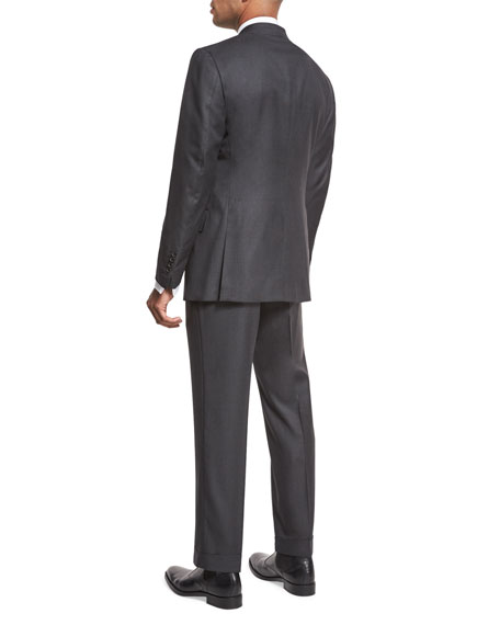Windsor Base Birdseye Two-Piece Suit, Charcoal