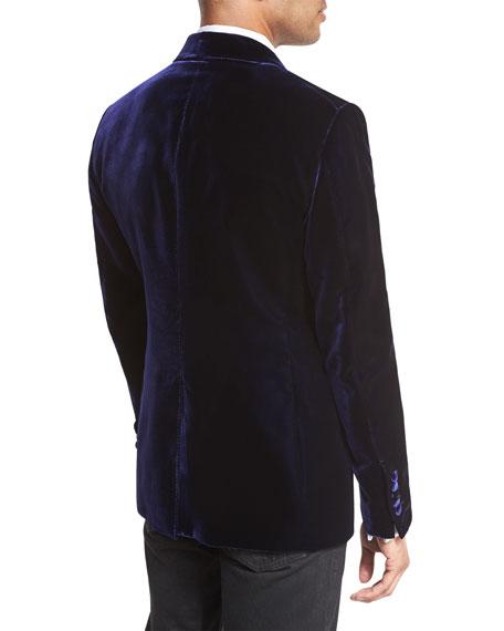 Mr. Ford Peak-Lapel Velvet Evening Jacket, Bright Blue