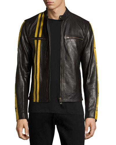 Mashburn Waxed Leather Jacket w/Racing Stripes