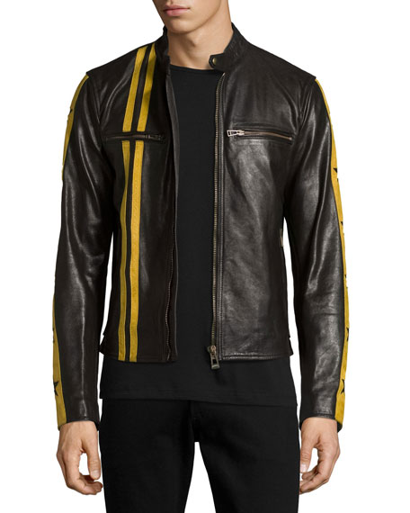 Belstaff Mashburn Waxed Leather Jacket w/Racing Stripes