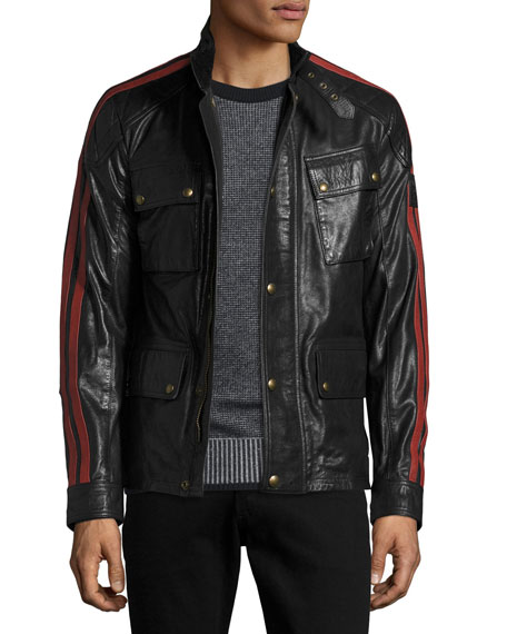 Daytona Waxed Leather Jacket w/Racing Stripes
