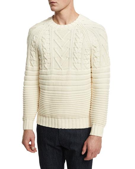 Belstaff Mix-Stitch Cotton Crewneck Sweater, Ivory