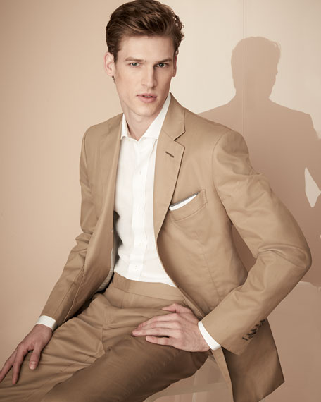 O'Connor Base Solid Cotton Two-Piece Suit, Tan