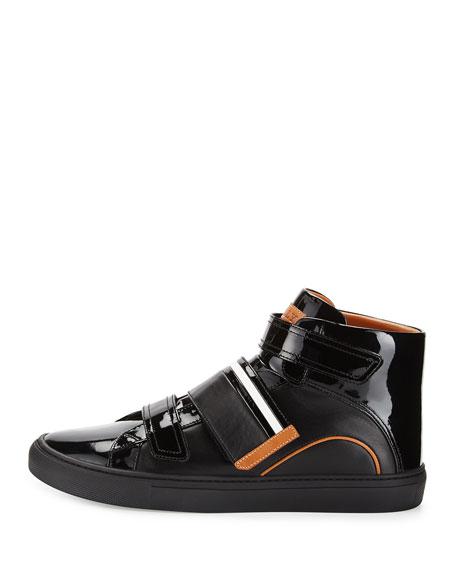 Herick Leather High-Top Sneaker, Black