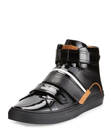 Men's Herick Leather High-Top Sneakers, Black