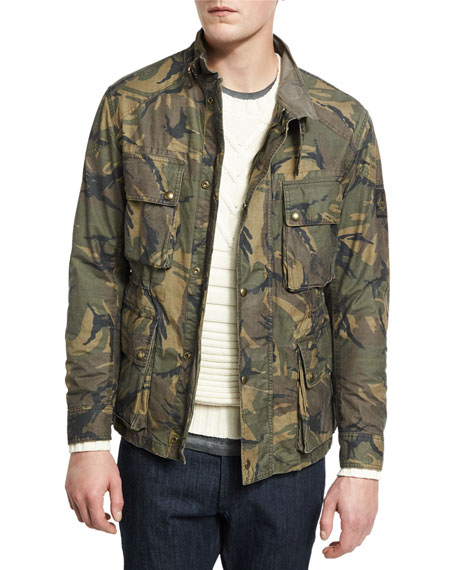 Belstaff Tyefield Washed Camo-Print Waxed Cotton Utility Jacket,