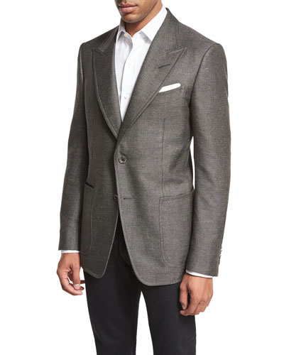 Shelton Base Tonal Textured Sport Coat, Gray
