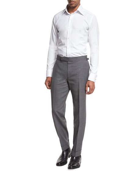 O'Connor Base Textured Trousers, Medium Gray